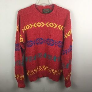 Vintage tribal multicolored knit cotton sweater